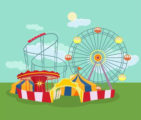 Illustration pour Amusement park. Vector flat illustration - image libre de droit