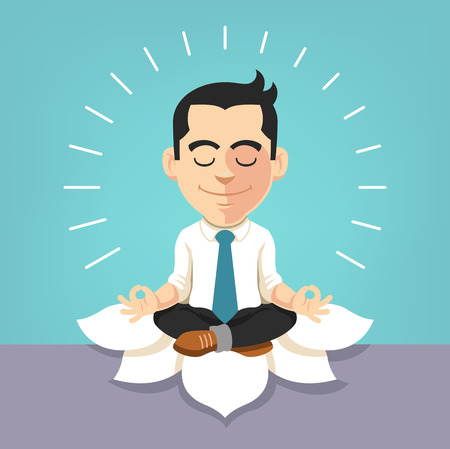 Illustrazione per Businessman doing yoga. Vector flat illustration - Immagini Royalty Free