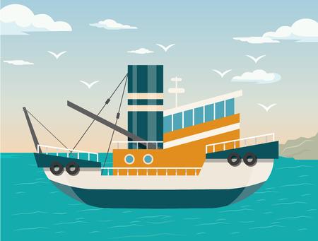 Illustration pour Vector ship flat illustration - image libre de droit