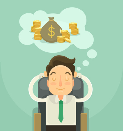 Illustration for Businessman dreaming about money. Vector flat illustration - Royalty Free Image