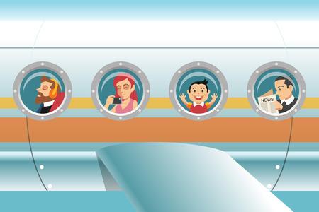 Illustration pour Passengers in airplane. Vector cartoon illustration - image libre de droit