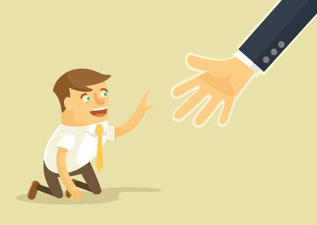 Illustration pour Helping hand. Vector flat illustration - image libre de droit