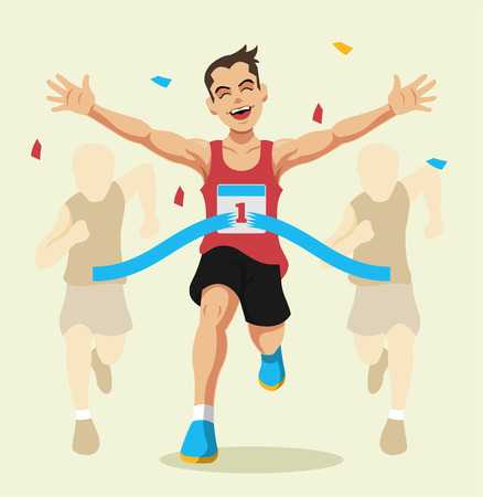 Illustration pour Man winning a race. Vector flat illustration - image libre de droit