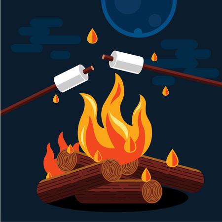 Illustration pour Bonfire with marshmallow. Vector flat illustration - image libre de droit