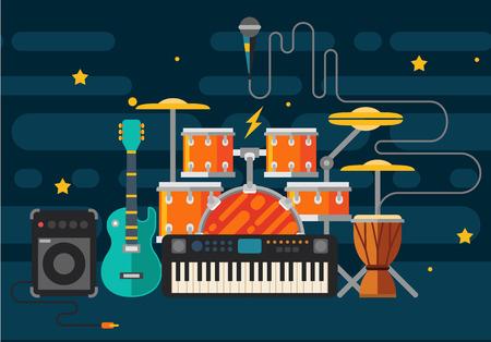 Illustration pour Musical instruments. Vector flat illustration - image libre de droit