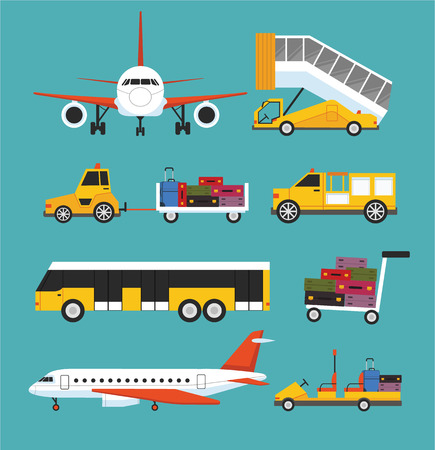 Photo for Airport transport vector flat set - Royalty Free Image