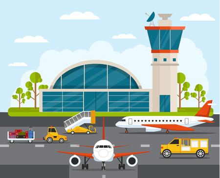Airport with infographic elements templates. Vector flat illustration