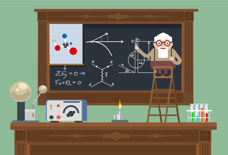 Illustration pour Scientist old professor. Vector flat illustration - image libre de droit