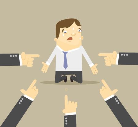 Ilustración de Businessman with hands pointing at him. Vector flat illustration - Imagen libre de derechos