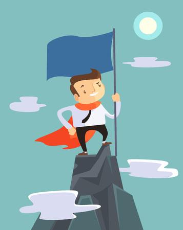 Illustration pour Successful businessman holding flag on top of mountain. Vector flat illustration - image libre de droit
