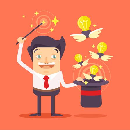 Ilustración de Businessman with magic hat full of ideas. Vector flat illustration - Imagen libre de derechos