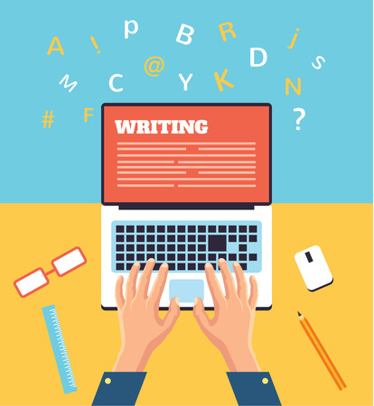 Illustration pour Hand typing on laptop flat illustration - image libre de droit