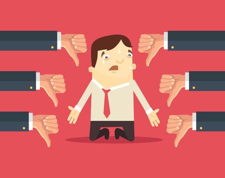 Ilustración de Sad businessman and many hands with thumbs down. Vector flat illustration - Imagen libre de derechos
