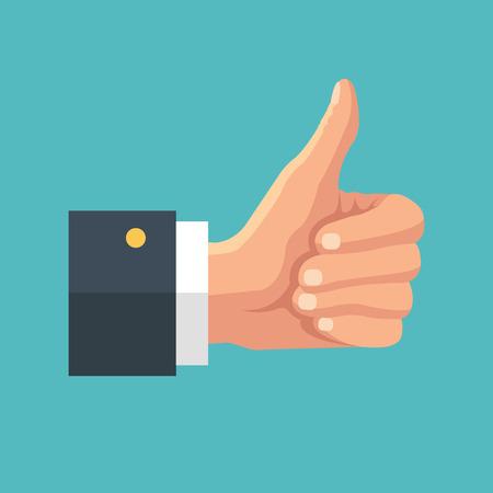 Illustration pour Big thumb up. Social network likes, approval, feedback concept - image libre de droit