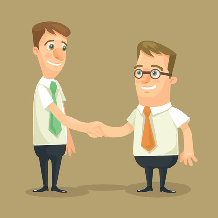Illustration pour Businessman shaking hands. Vector flat illustration - image libre de droit