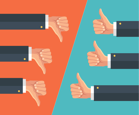 Illustrazione per Thumbs up and thumbs down. Vector flat illustration - Immagini Royalty Free