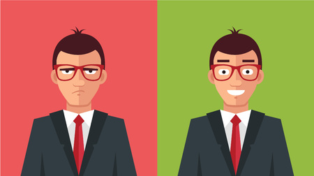 Illustrazione per Happy and angry man. Vector flat illustration - Immagini Royalty Free