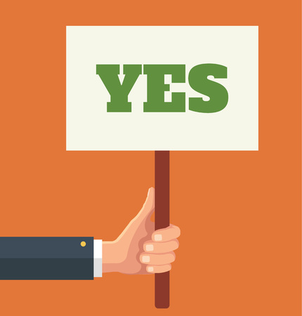 Illustration pour Hands holds sign with YES word. Vector flat illustration - image libre de droit