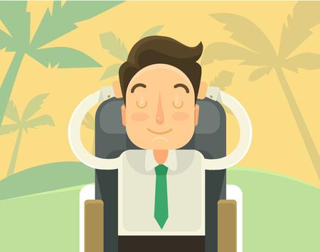 Illustration pour Sweet dream about holiday. Vector flat illustration - image libre de droit