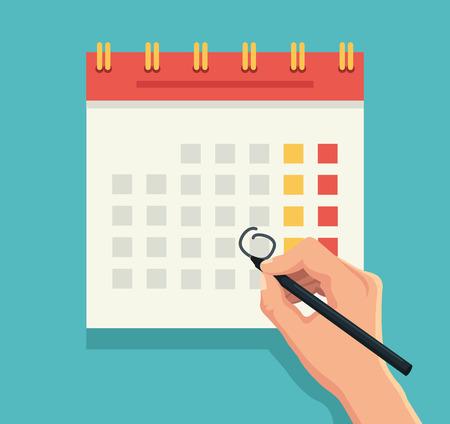 Illustration pour Hand with pen mark calendar. Vector flat illustration - image libre de droit