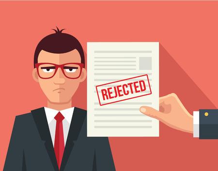Illustration pour Hand hold rejected paper document. Vector flat illustration - image libre de droit