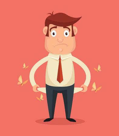 Illustration pour Businessman has no money. Vector flat illustration - image libre de droit