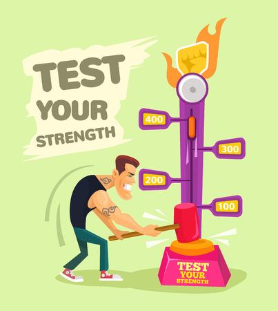 Illustration pour Test your strength. Vector flat illustration - image libre de droit