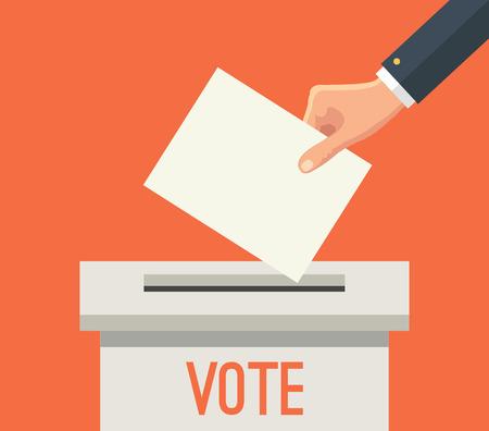 Illustration pour Hand putting voting paper in ballot box. Vector flat illustration - image libre de droit