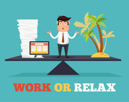 Ilustración de Concept of life and work balance. Vector flat illustration - Imagen libre de derechos