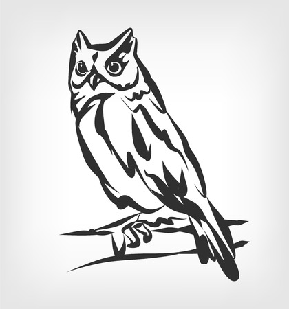 Illustration for Owl vector black icon  illustration - Royalty Free Image