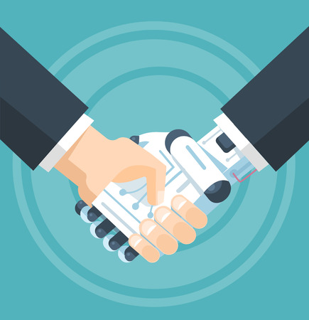 Illustration pour Businessman and robot handshake. Vector flat illustration - image libre de droit