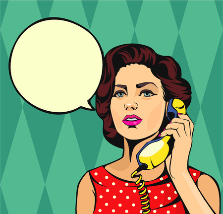 Illustration pour Girl talking on phone. Vector comic illustration - image libre de droit