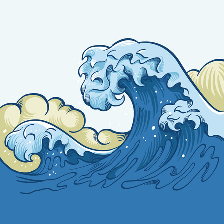 Illustration pour Ocean big wave. Vector cartoon illustration - image libre de droit