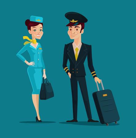 Photo pour Pilot and stewardess. Vector cartoon illustration - image libre de droit