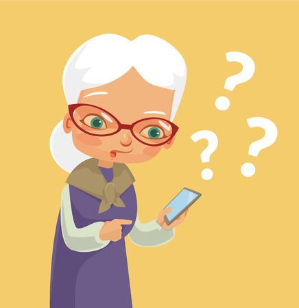 Foto de Old woman and modern phone. Vector flat cartoon illustration - Imagen libre de derechos