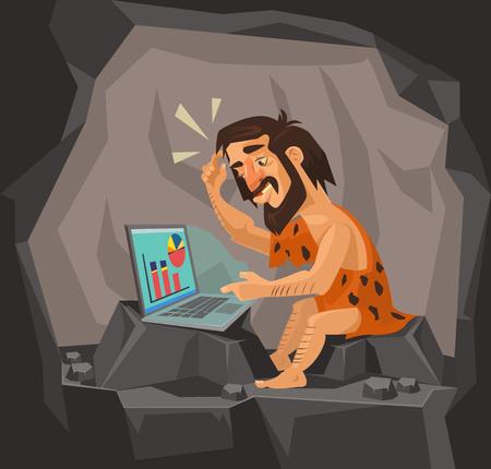 Illustration pour Caveman using laptop. Vector flat cartoon illustration - image libre de droit