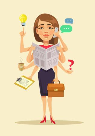Illustration pour Multitasking woman. Vector flat cartoon illustration - image libre de droit