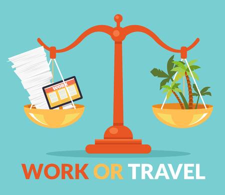 Illustration pour Work or travel. Vector flat cartoon illustration - image libre de droit