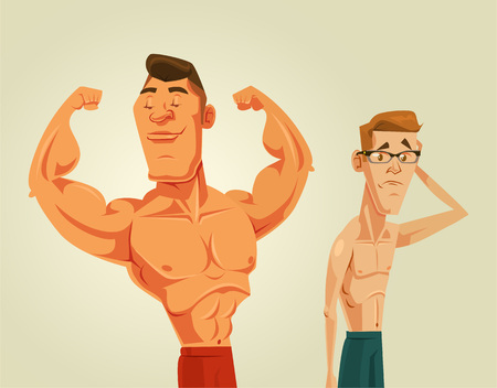 Ilustración de Strong and weak men. Vector flat cartoon illustration - Imagen libre de derechos