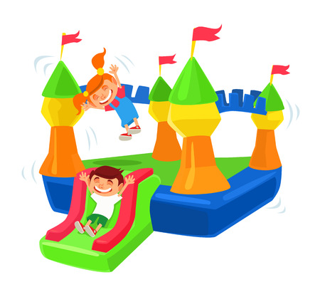 Illustration pour Inflatable castle trampoline. - image libre de droit