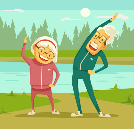 Illustration for Elderly people doing exercises. Vector flat cartoon illustration - Royalty Free Image