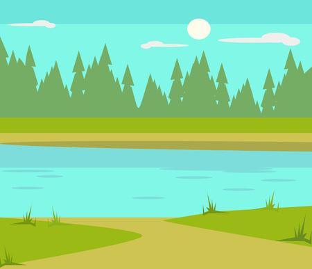 Ilustración de Lake flat cartoon illustration - Imagen libre de derechos