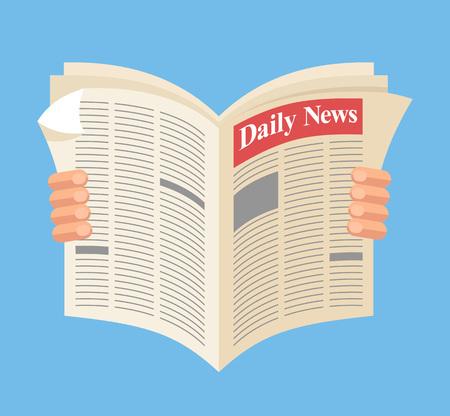 Illustration pour Newspaper. Daily news. Vector flat cartoon illustration - image libre de droit