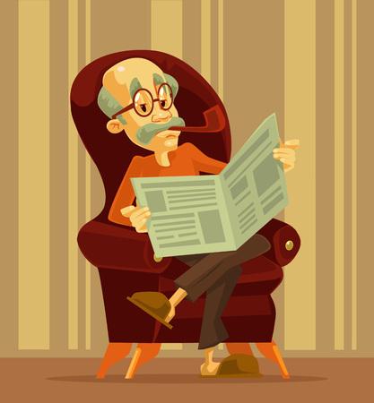 Illustration for Old man reading newspaper. Grandfather smoking. Vector flat cartoon illustration - Royalty Free Image
