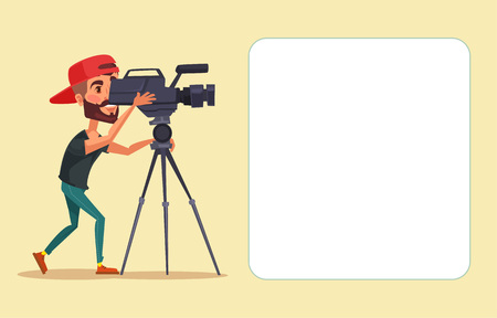 Illustration pour Cameraman with movie camera. Vector flat cartoon illustration - image libre de droit