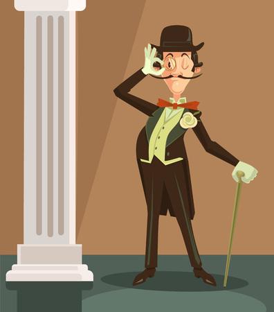 Victorian gentleman. Vector flat cartoon character illustration