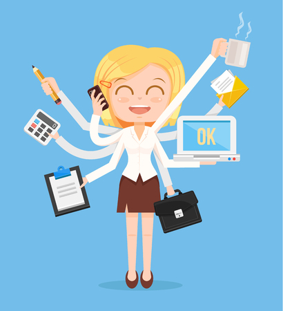 Ilustración de Happy office woman character. Multitasking hard work. Vector flat cartoon illustration - Imagen libre de derechos