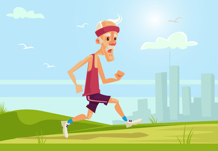 Illustration pour Old sport man character running. Healthy lifestyle. flat cartoon illustration - image libre de droit