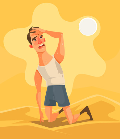 Illustration pour Hot weather and summer day. Tired unhappy man character in desert. Vector flat cartoon illustration - image libre de droit