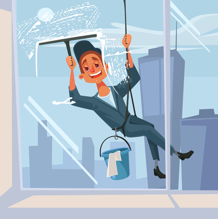 Illustration pour Happy smiling washer employee man character wash the window. Vector flat cartoon illustration - image libre de droit